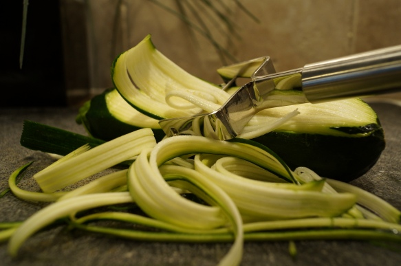 Zucchini shredded using a julleane peeler