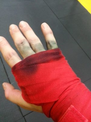 Hands stained from gloves and sweat!